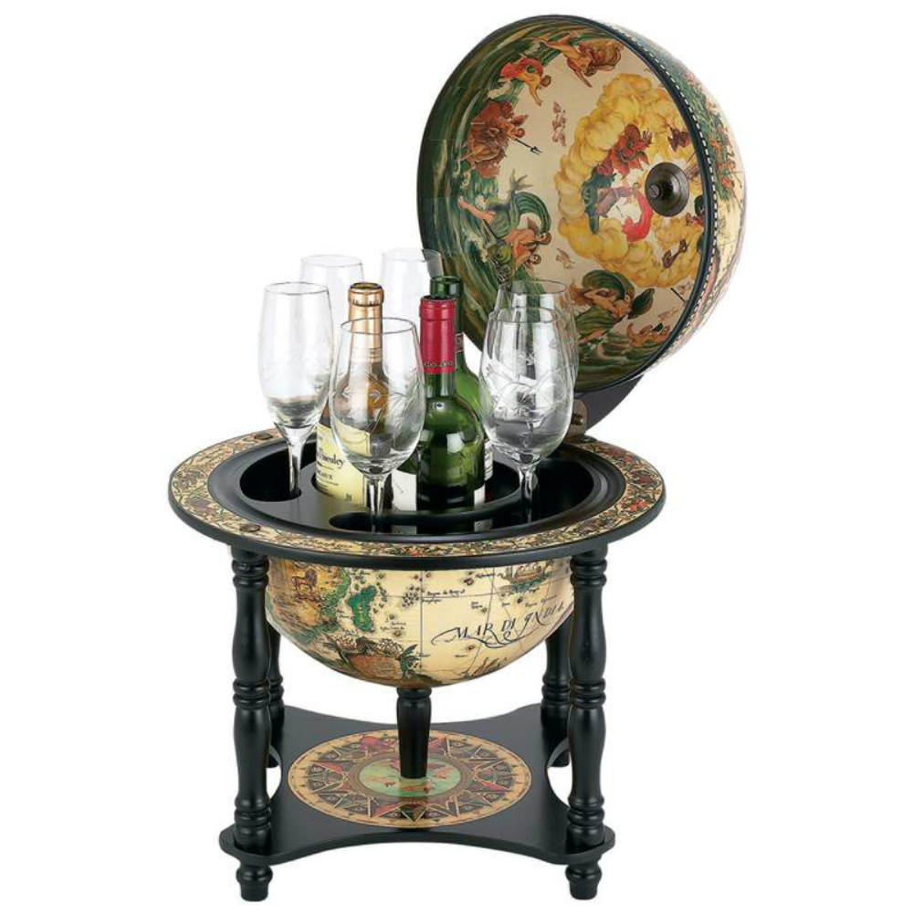 16th Century Italian Replica Globe Bar 13 Diameter