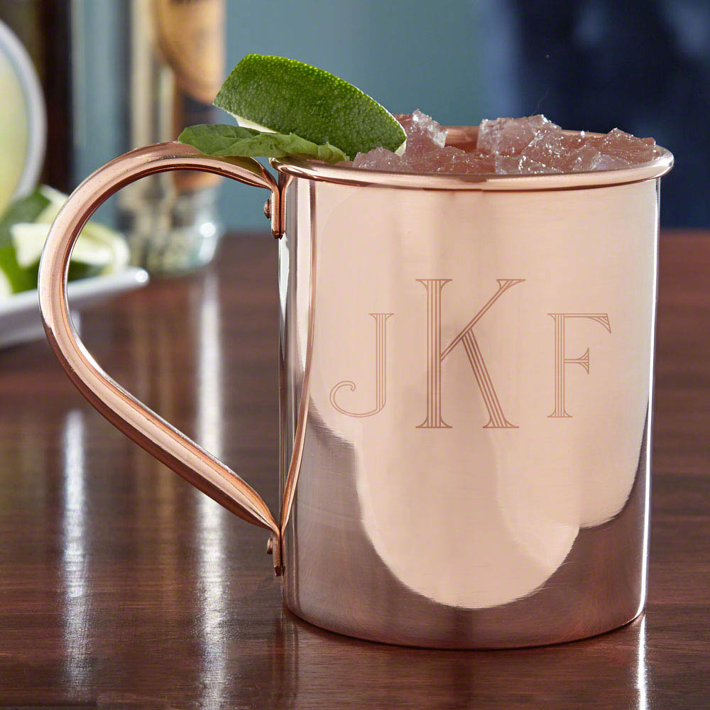 Give your bar ware and tastebuds a wake up call with our monogrammed Moscow Mule mugs. Fashioned in the classic style everyone loves, made popular in nightclubs of the 1950s, these copper mugs are made from 100& solid copper & unlacquered, allowing the na #mug