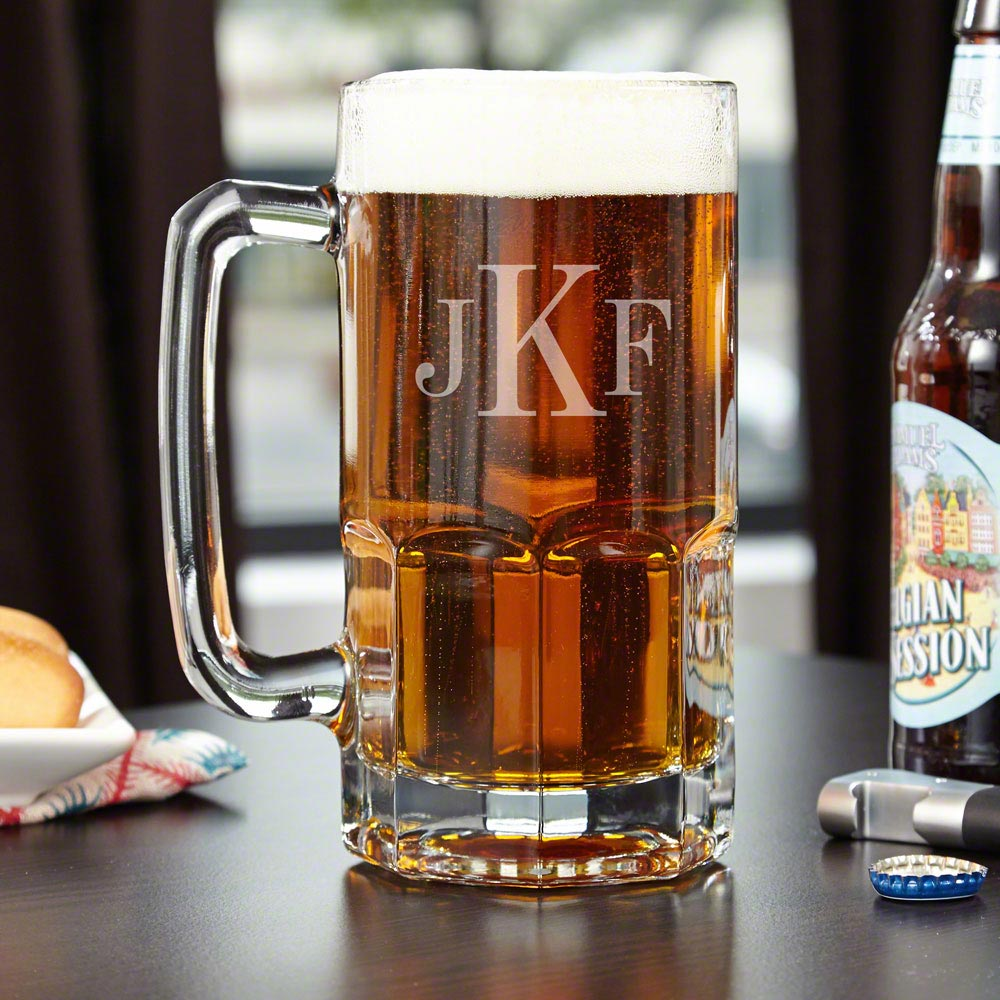 Big game on big screen TV? Check. Big time party at your place? Check. Big thirst? Check. An awesome big mug? Well, if you cant check this one off your list, youd better get our Colossal monogrammed beer mug. This huge mug holds up to one liter of your fa #mug