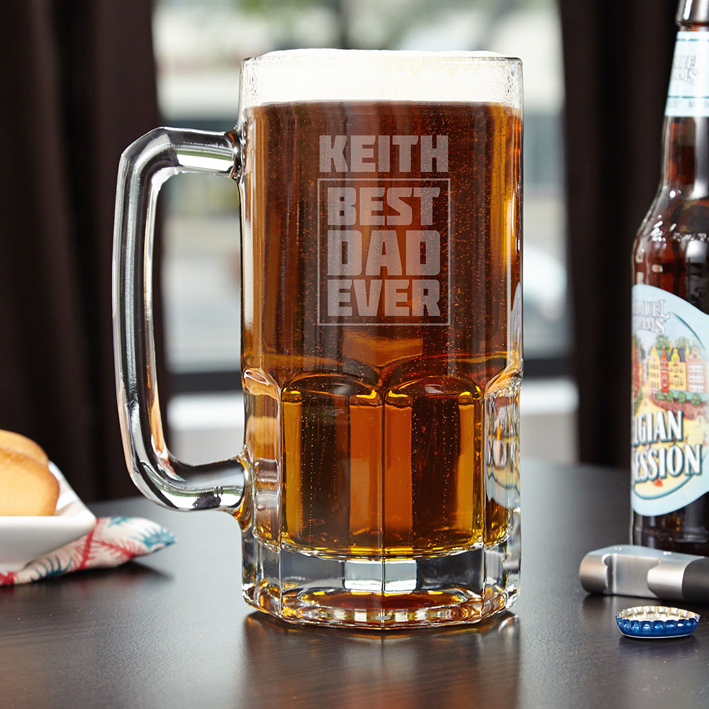 Best Dad Ever Custom Colossal Beer Mug Gift