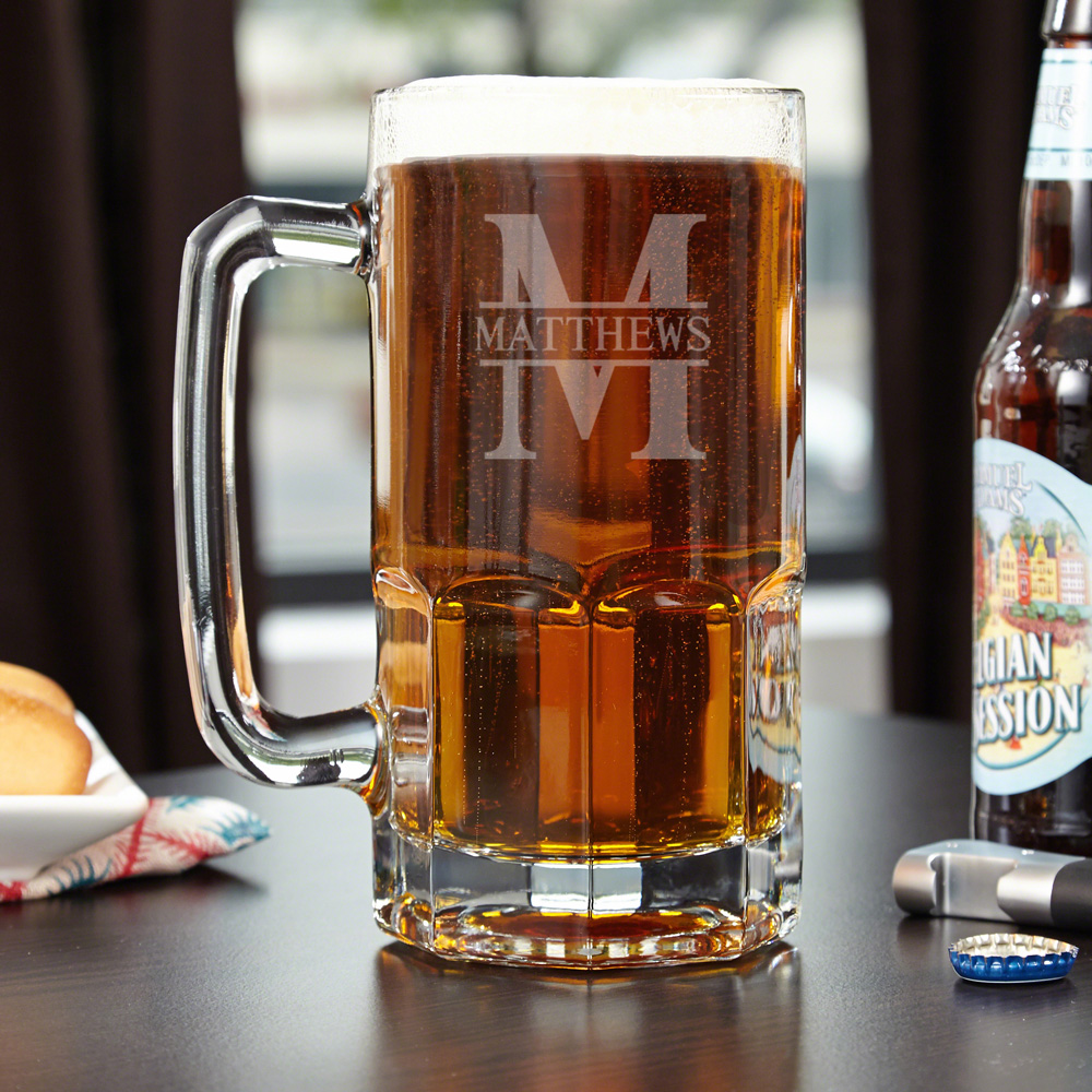 Sometimes a pint glass just wont do. When you need a little bit extra reach for our impressive Colossal custom beer mug. Engraved with the name and initial of your choice, this grand beer mug is crafted from solid glass and is truly built to last. A strik #mug