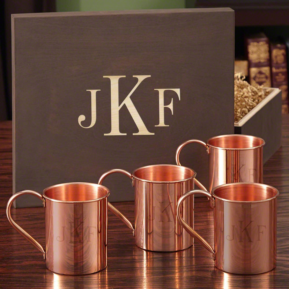 Monogrammed Copper Mug Set with Wood Gift Box