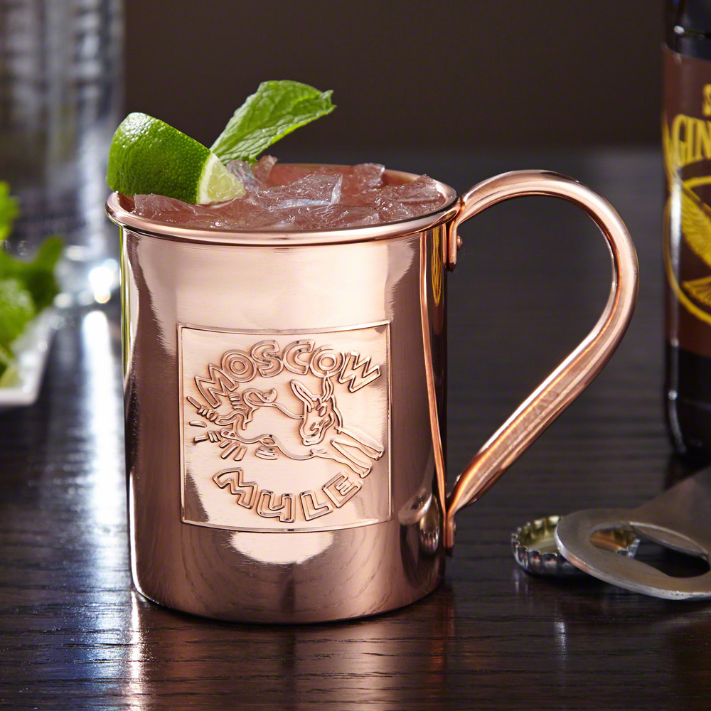Maintain extra-cool temperature and style with your cocktails in our Donkey Kick 13.5 oz Moscow Mule mug. Fashioned after the classic copper mugs used at nightclubs and upscale restaurants during the 40s and 50s, these embossed mugs are non-lacquered, per #mug