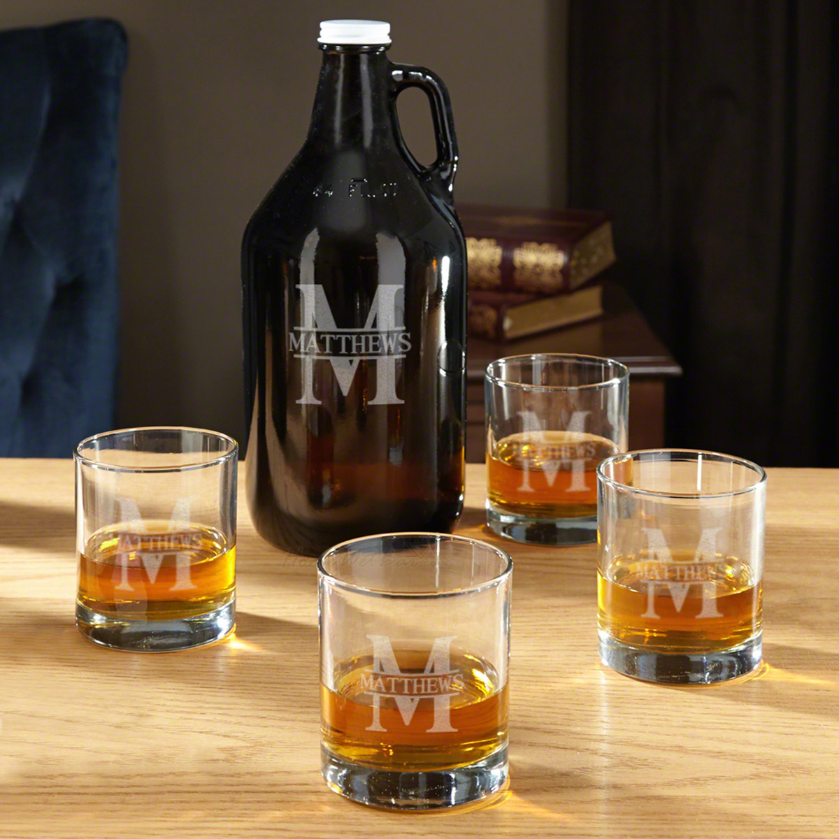 Oakmont Whiskey Jug and Custom Rocks Glasses Set