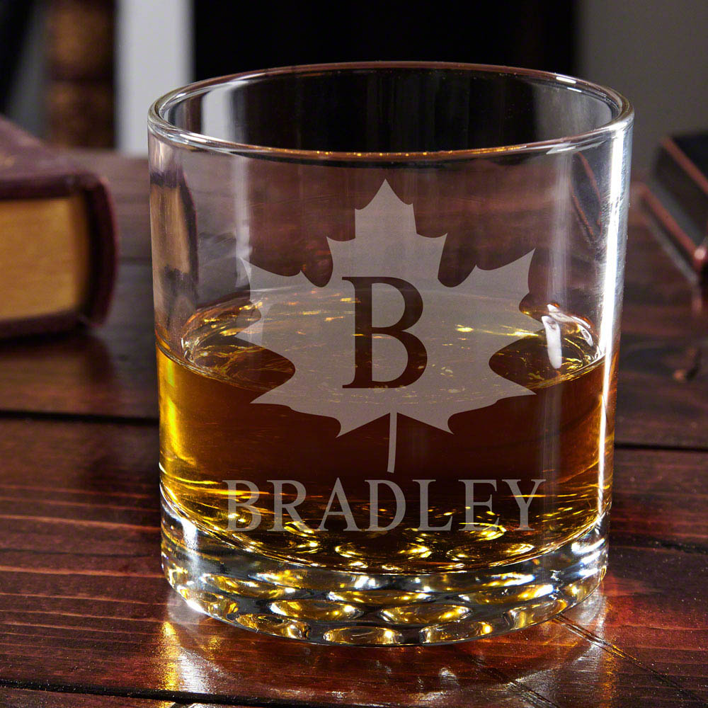 Maple Leaf Engraved Buckman Whiskey Glass