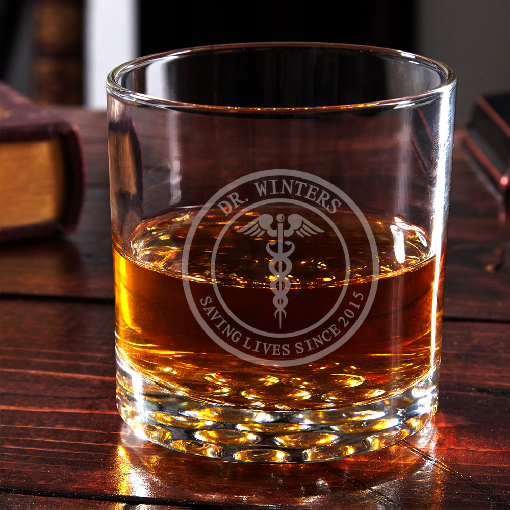 Medical Arts Engraved Buckman Whiskey Glass - Gift for Doctor
