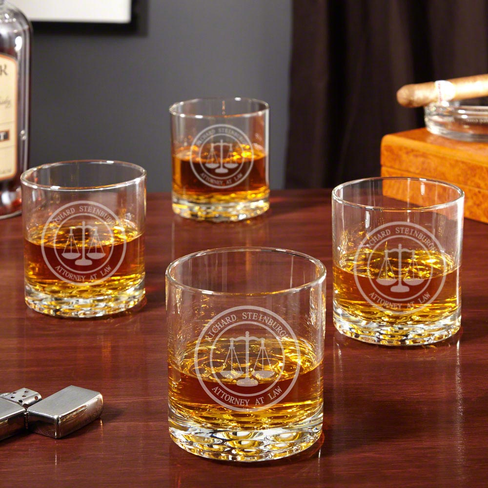 Scales of Justice Personalized Buckman Whiskey Glasses for Lawyers, Set of 4