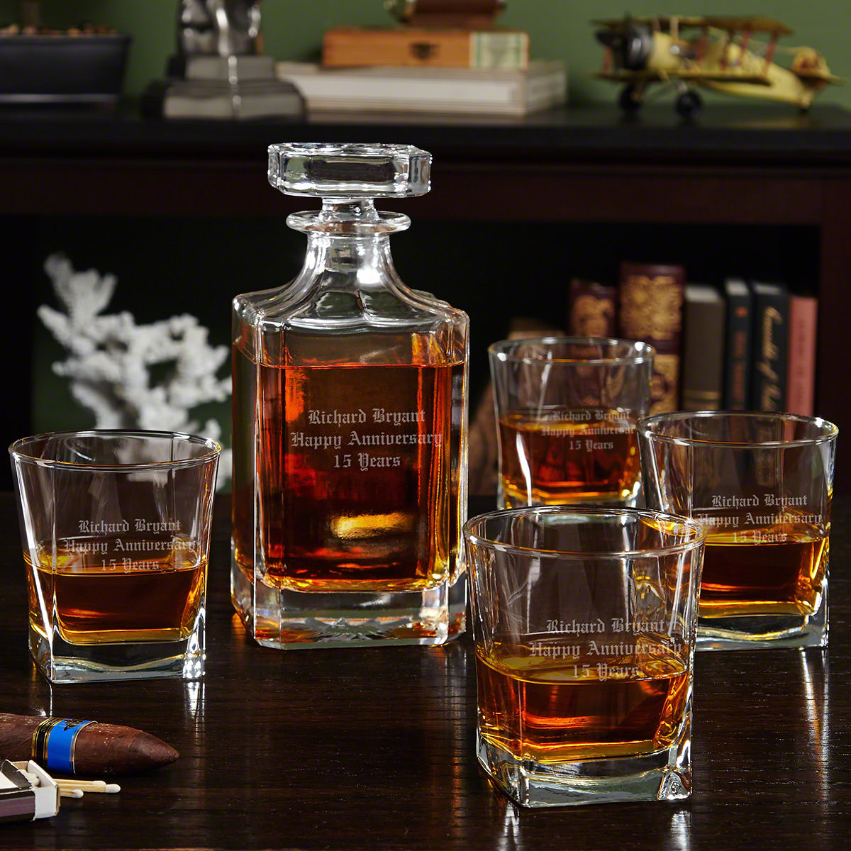 Carson Personalized Decanter with Rutherford Whiskey Glasses