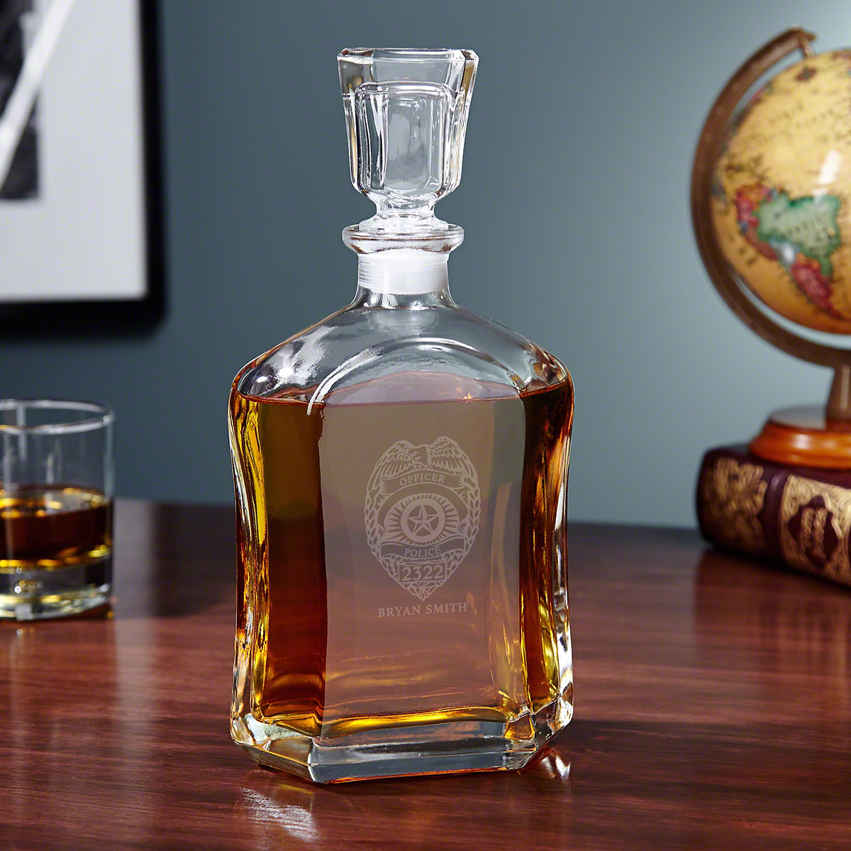 Police Badge Personalized Argos Whiskey Decanter