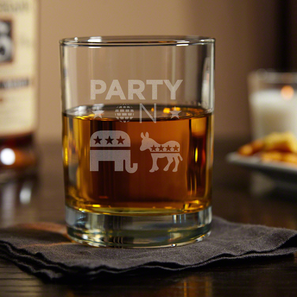 Party On! Political Whiskey Glass (3 Designs)