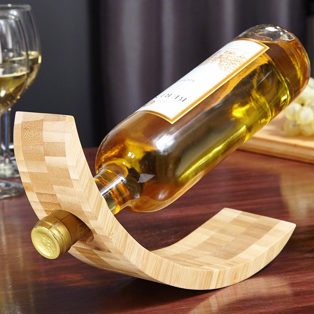 Balancing Bamboo Personalized Wine Bottle Holder