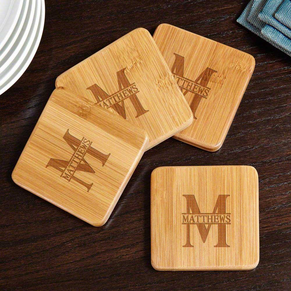 Oakmont Bamboo Custom Coasters, Set of 4