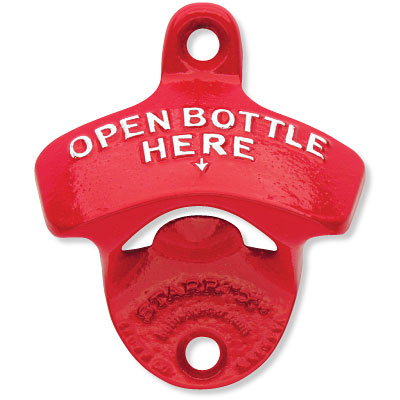 Open Bottle Here Red Wall Bottle Opener