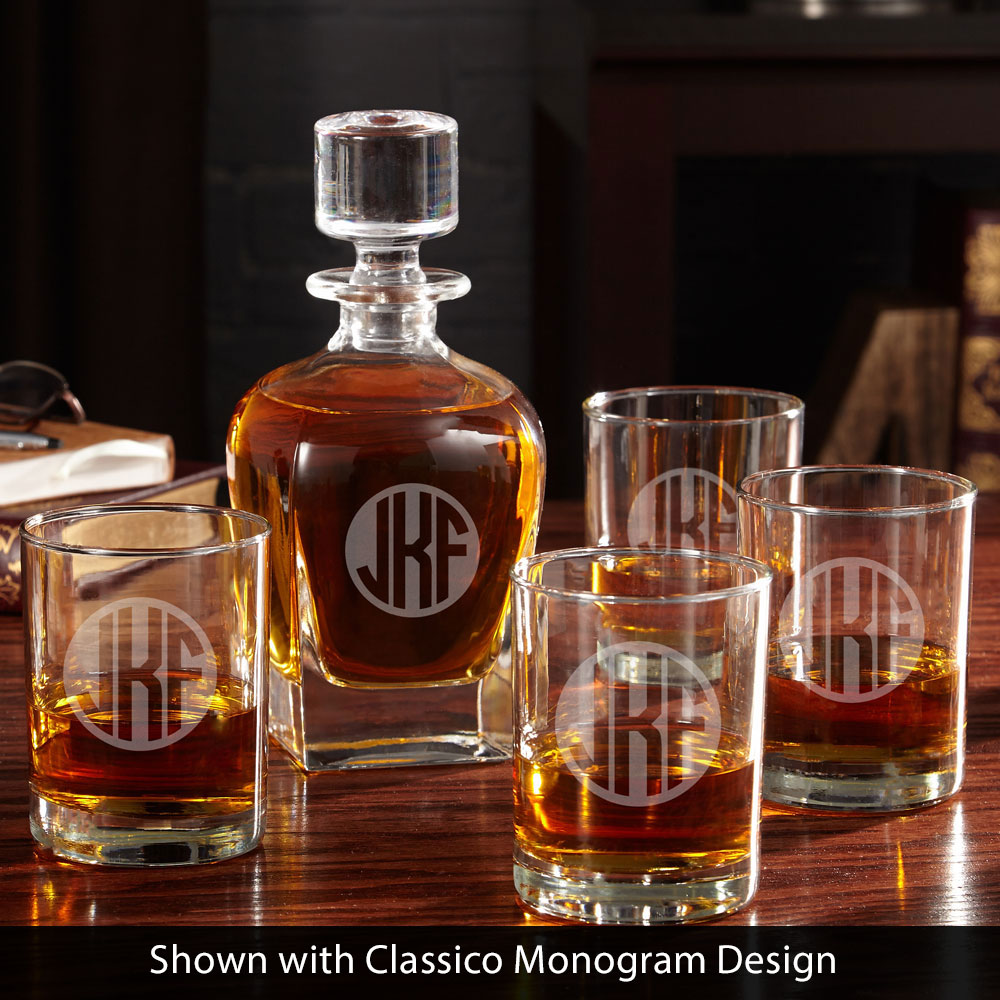 Eastham Circle Monogram Engraved Decanter Set