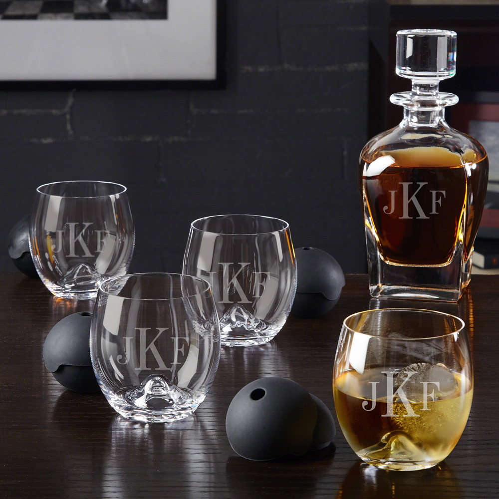 Classic Monogram Decanter and Set of 4 Roller Rock Glasses