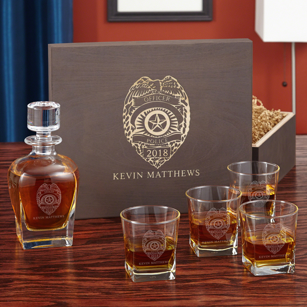 Police Badge Custom Square Whiskey Glass & Decanter Set