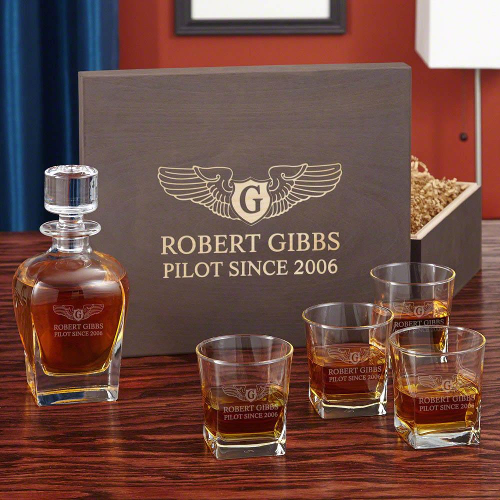 Take Flight Pilotwings Engraved Wood Gift Box Set