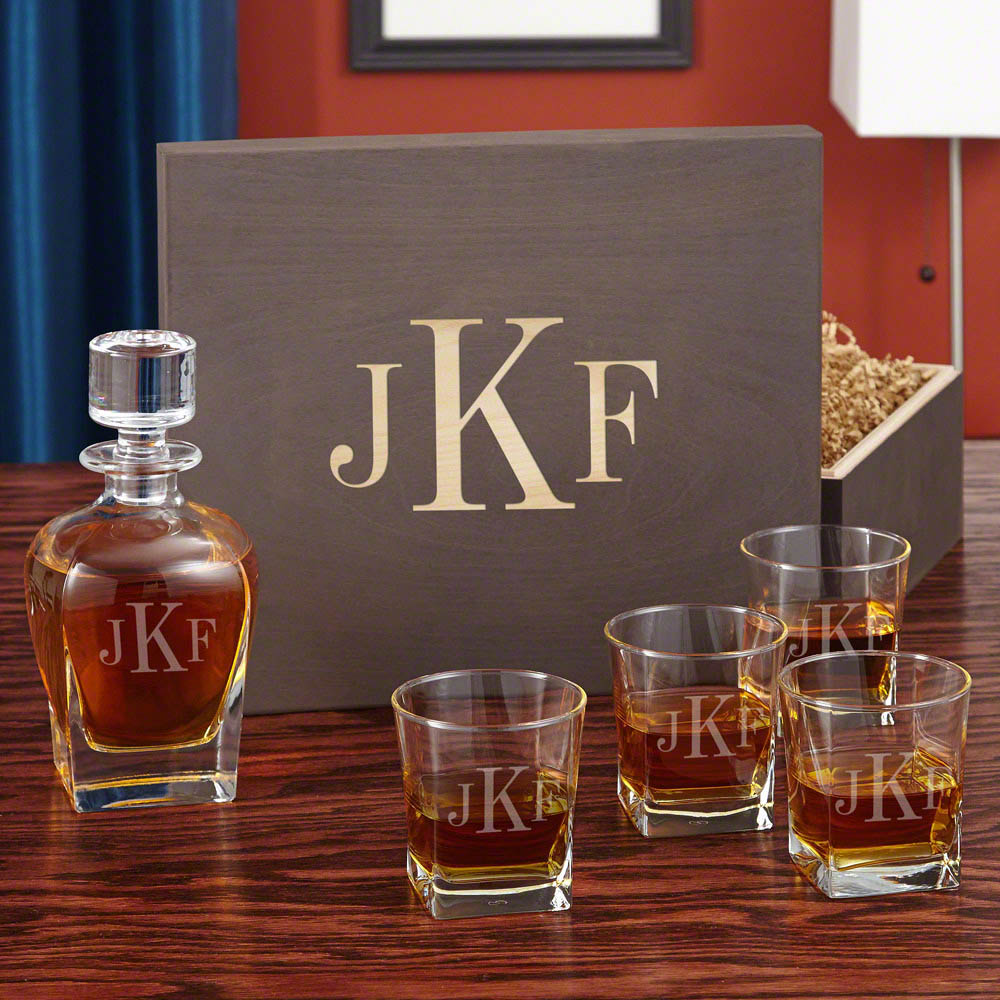 Classic Monogram Whiskey Set with Custom Wood Gift Box