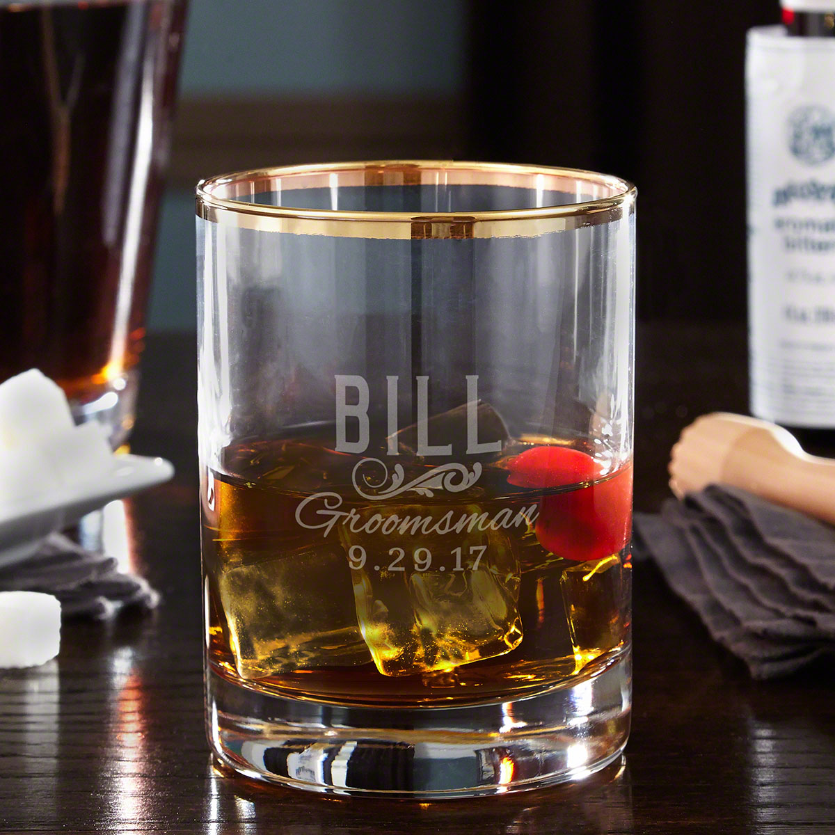 Classic Groomsman Gift Personalized Gold Rim Whiskey Glass