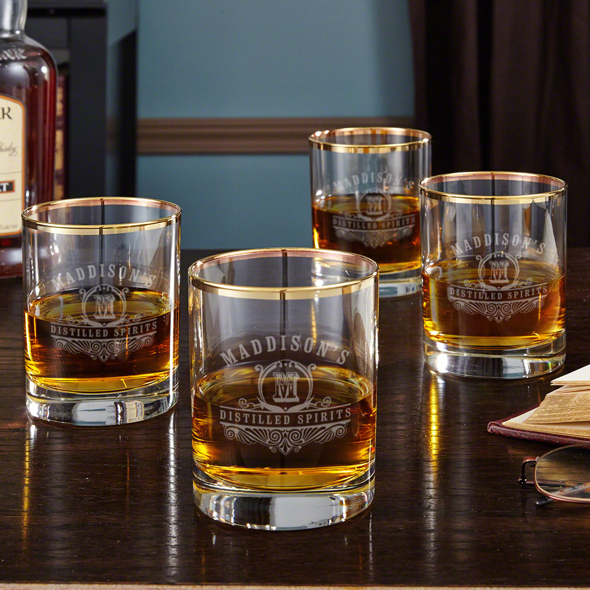 Carraway Monogram Etched Whiskey Glasses with Gold Rim