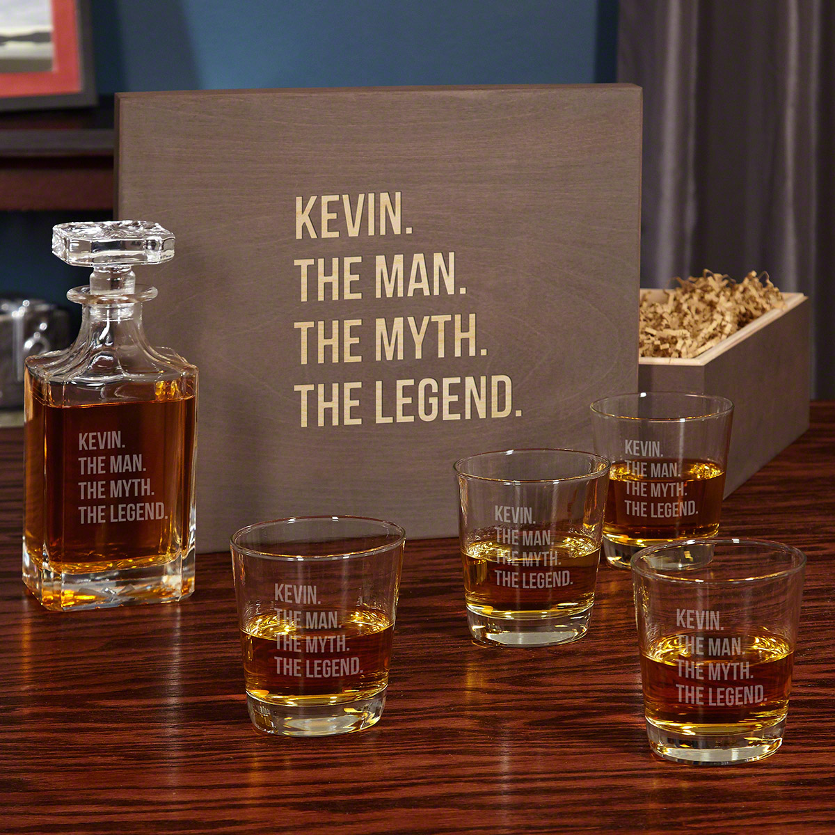 The Man The Myth The Legend Custom Boxed Decanter Set