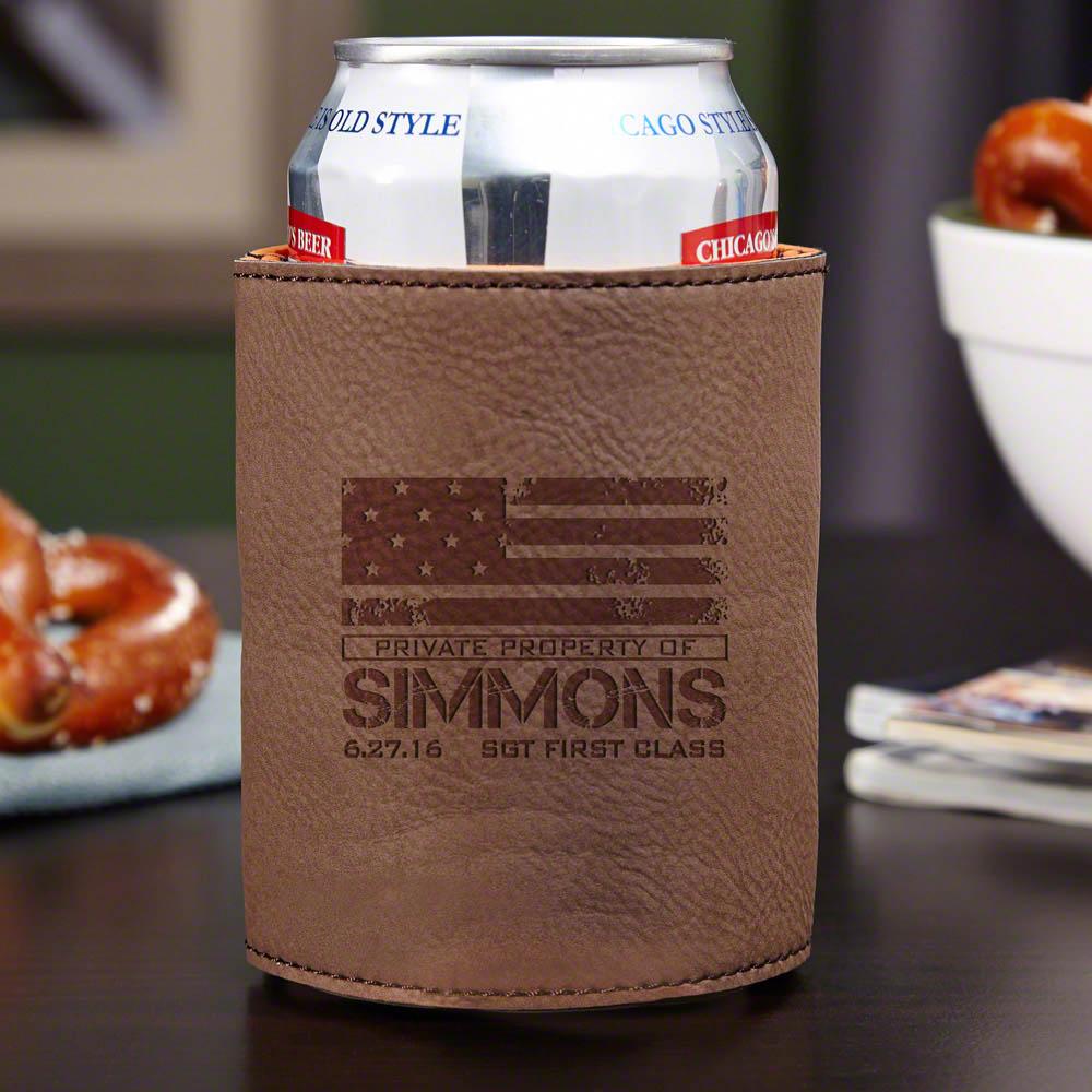 American Heroes Custom Beer Koozie Chestnut