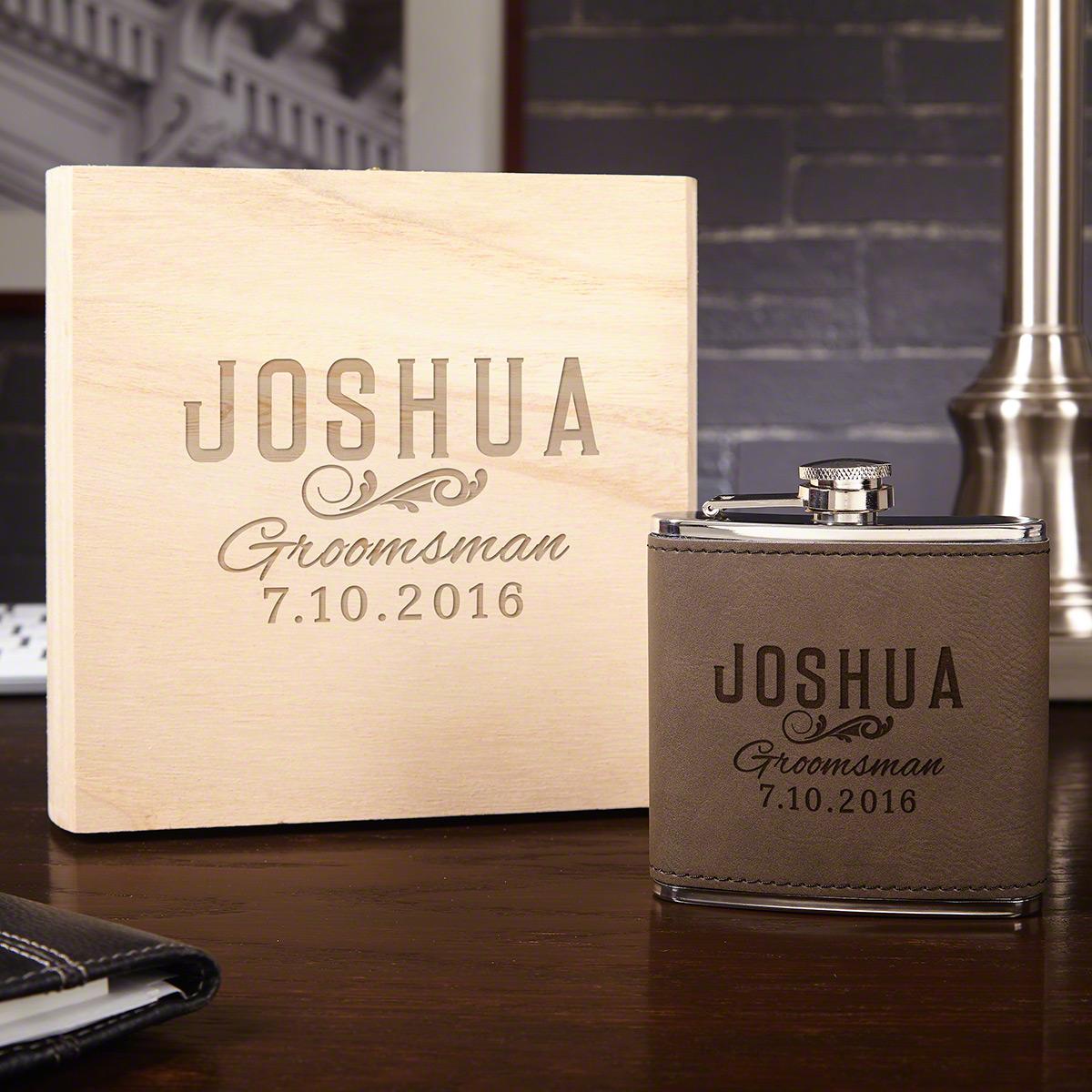 Classic-Groomsman-Custom-Flask-Set-with-Wood-Gift-Box
