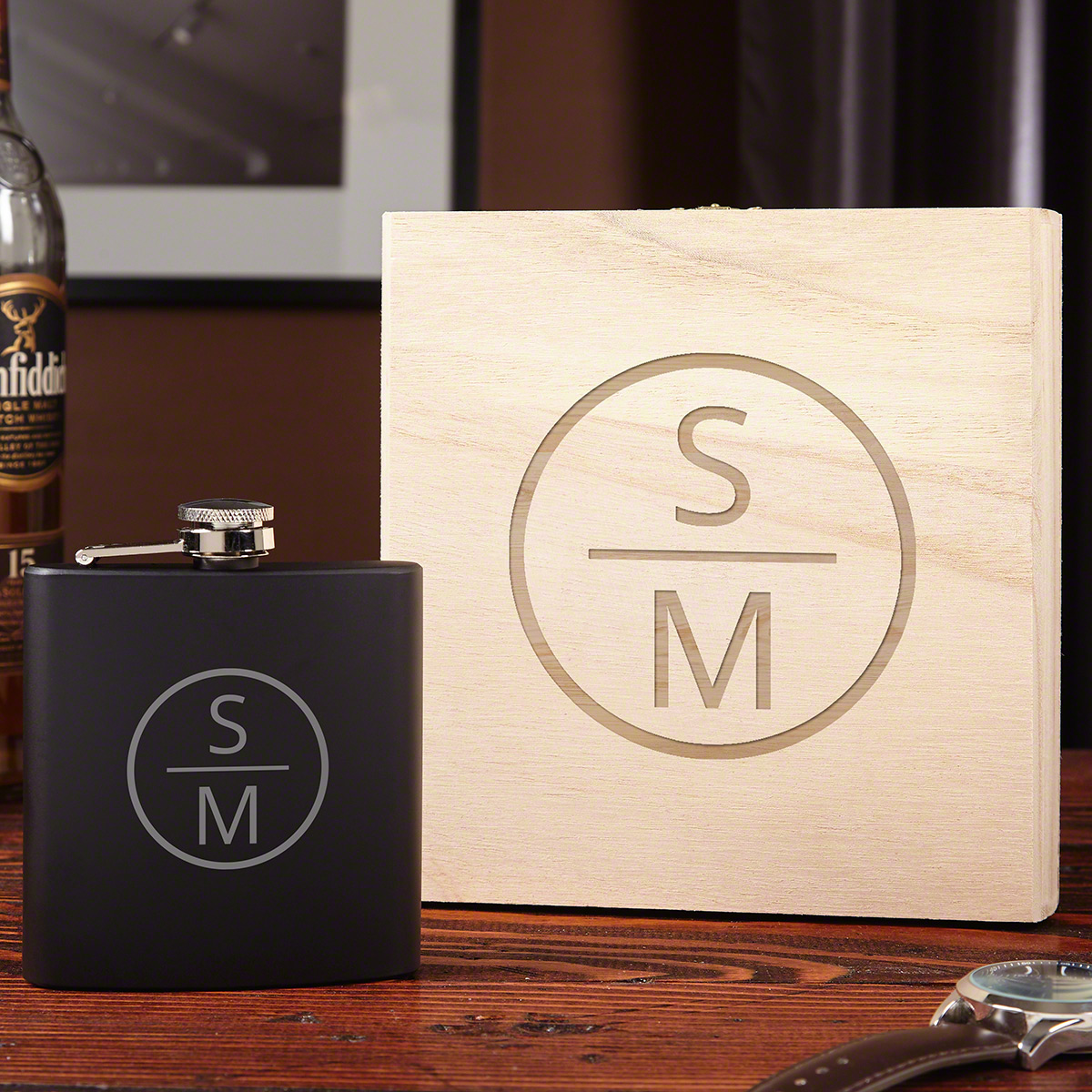 Emerson Personalized Flask with Wooden Gift Box
