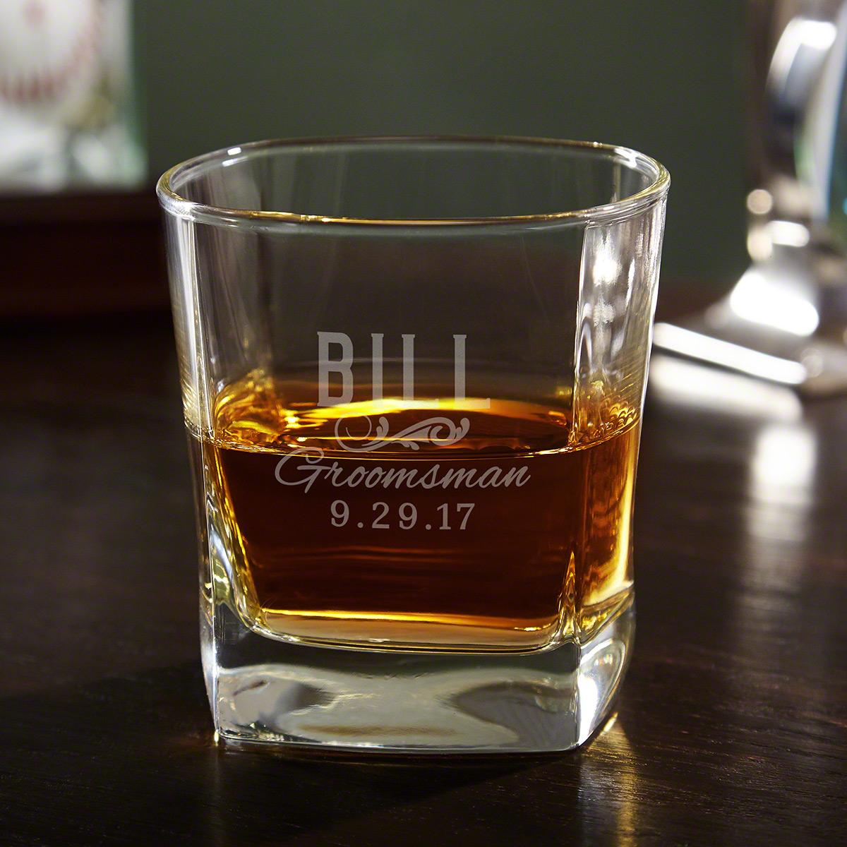 Classic Groomsman Gift Personalized Square Rocks Glass