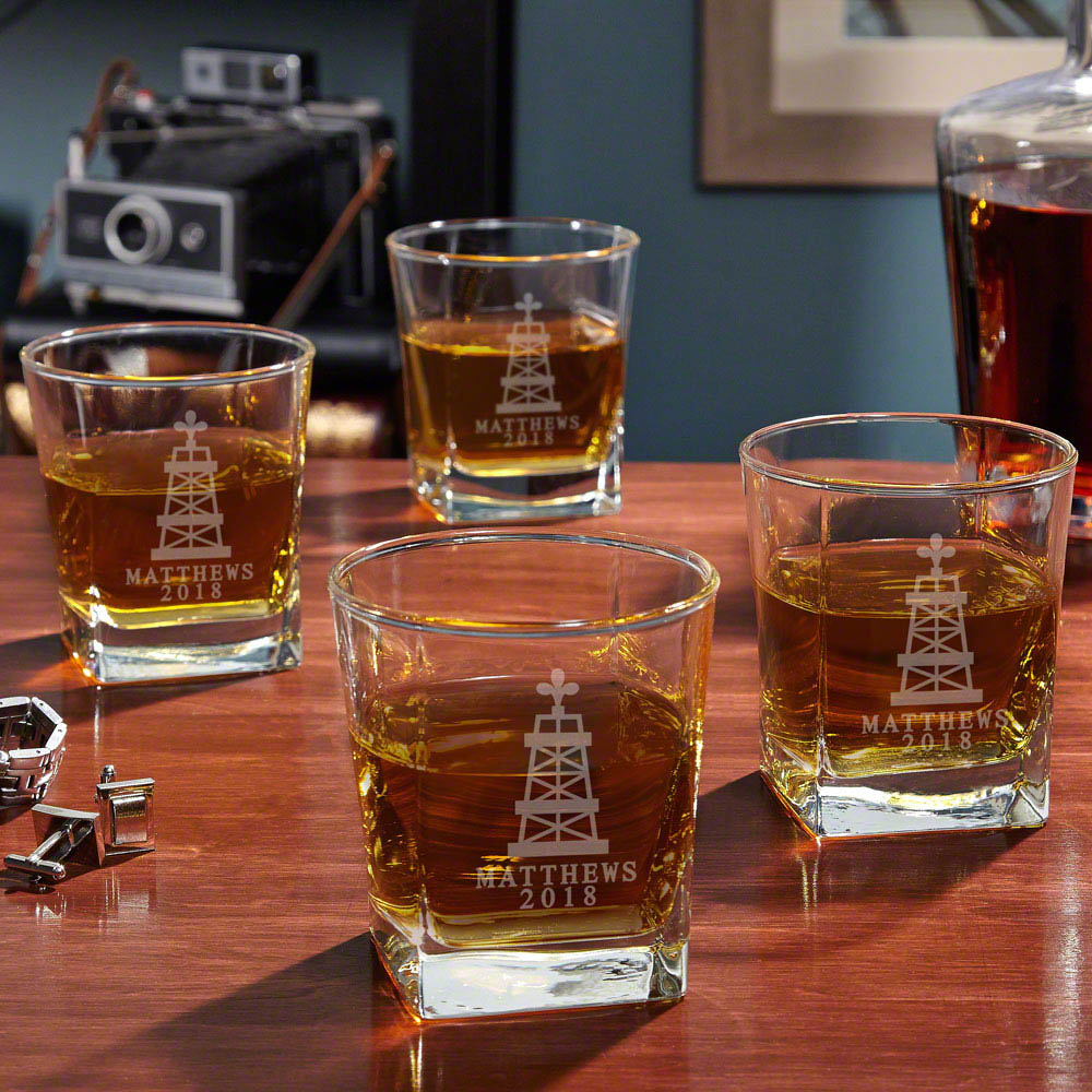 Oil Strike Rutherford Whiskey Glasses, Set of 4