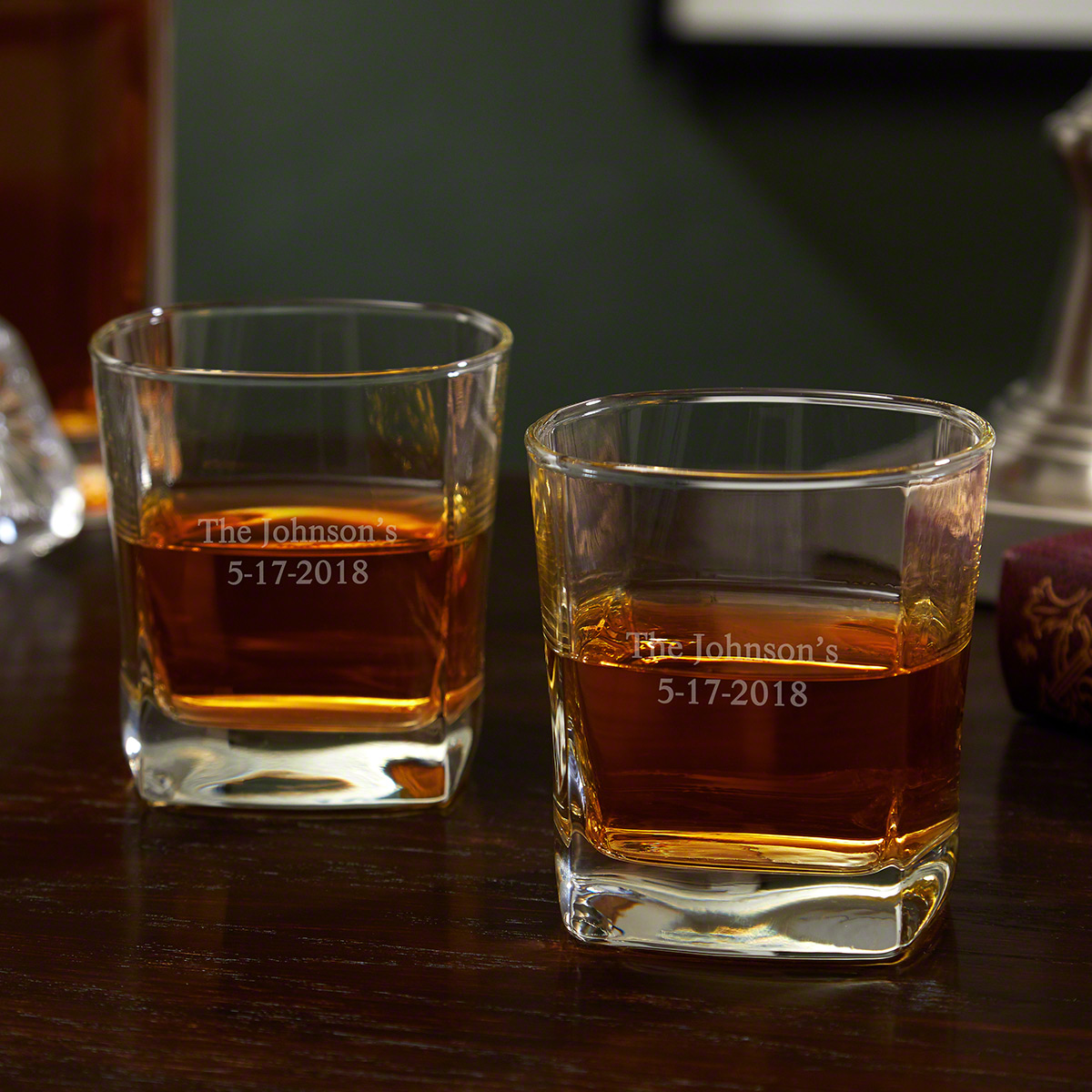 Rutherford Personalized Square Rocks Glasses, Set of 2