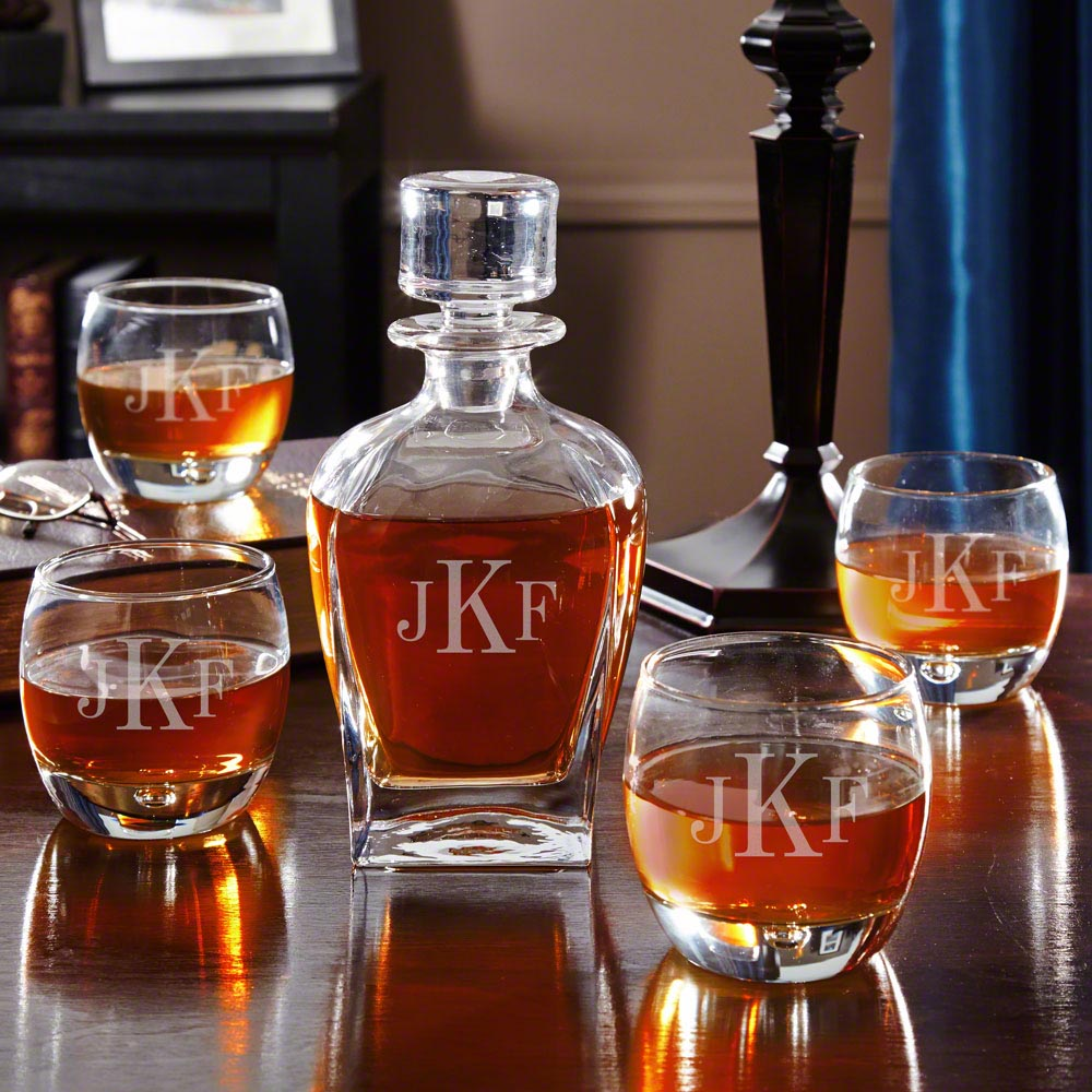 Draper Monogrammed Whiskey Decanter Set with Rocks Glasses