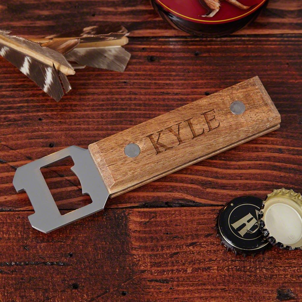 well built custom wood beer bottle opener