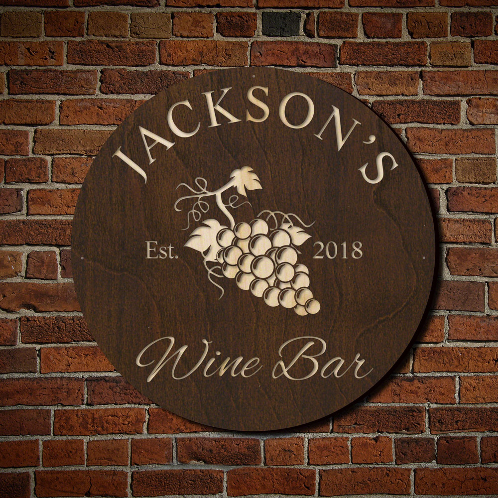 Sunset Vineyard Custom Wine Bar Sign (Signature Series)