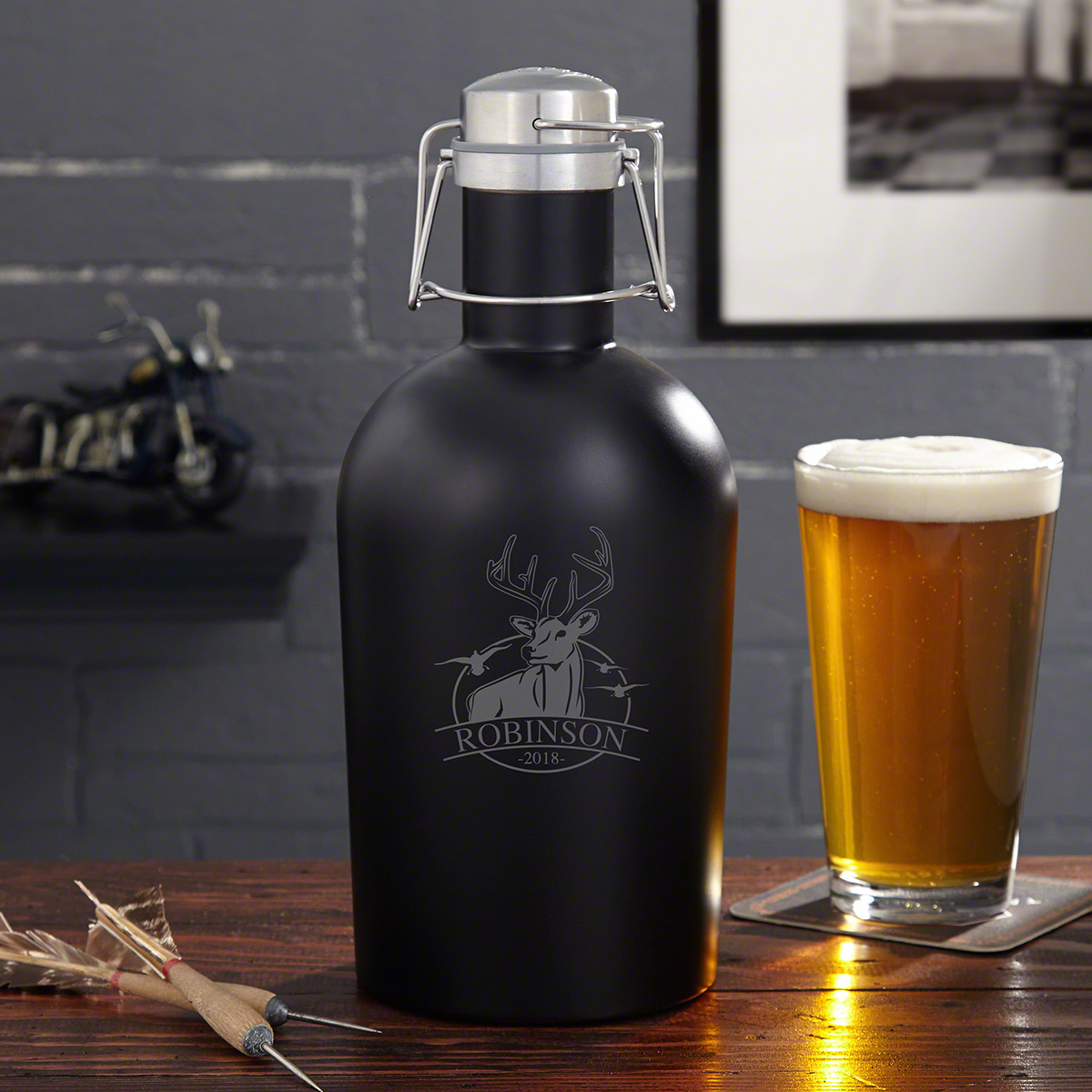 Bird and Buck Hunter Personalized Stainless Steel Growler for Hunters