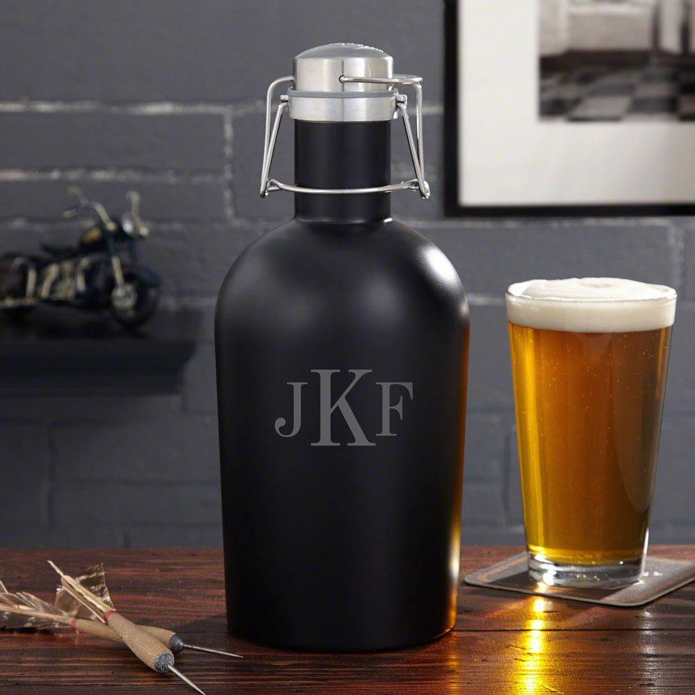 Custom Classic Monogram Steel Beer Growler