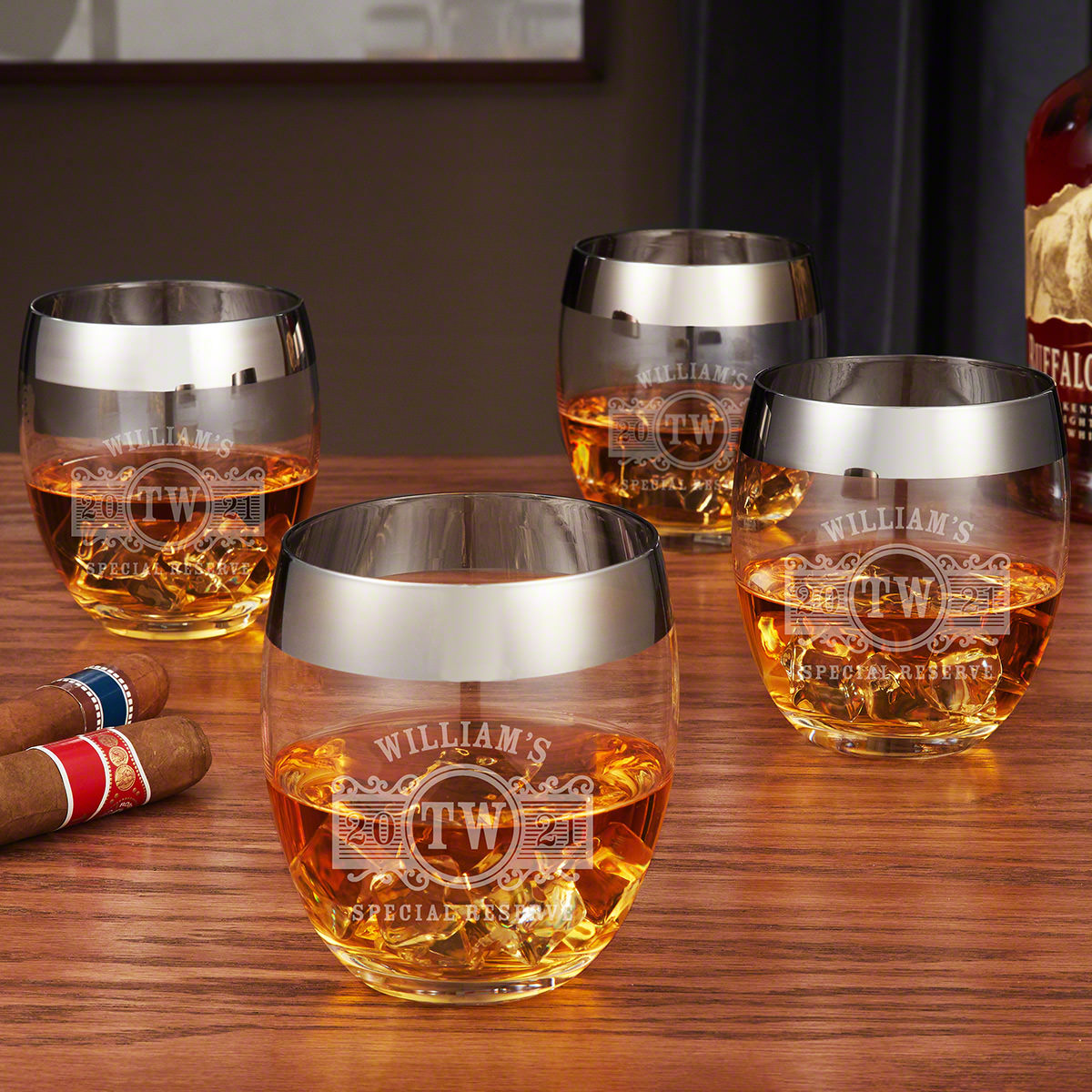 Marquee Silver Rim Whiskey Glass Set, Set of 4