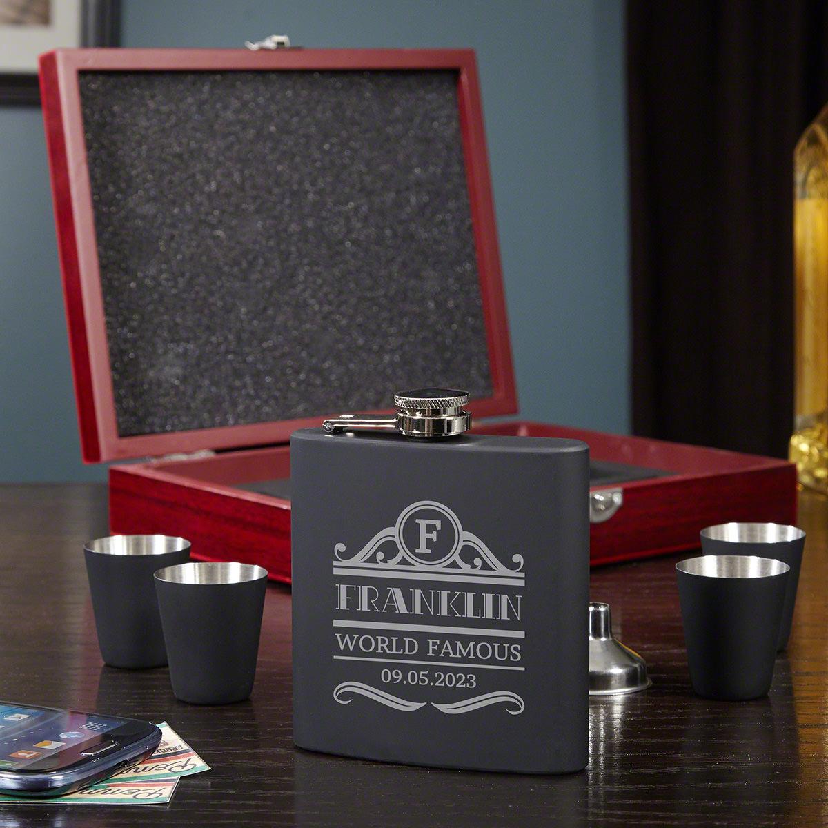 Rockefeller Engraved Flask Gift Set