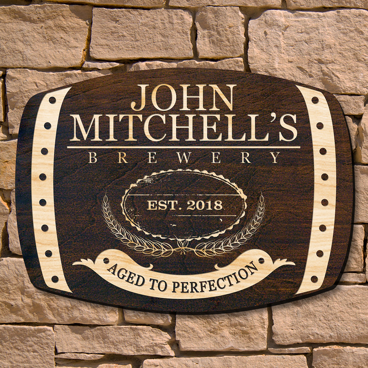 """Plato once said, He was a wise man who invented beer. We wholeheartedly agree. Display your admiration for this timeless beverage with our Highland personalized whiskey bar sign. Crafted from 1/2"""" cut American birch wood and hand stained in a dark walnut #bar"""