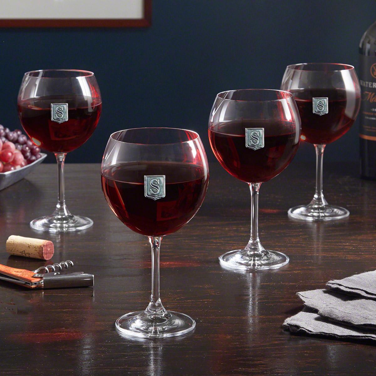 Regal Crest Monogrammed Red Wine Glasses, Set of 4