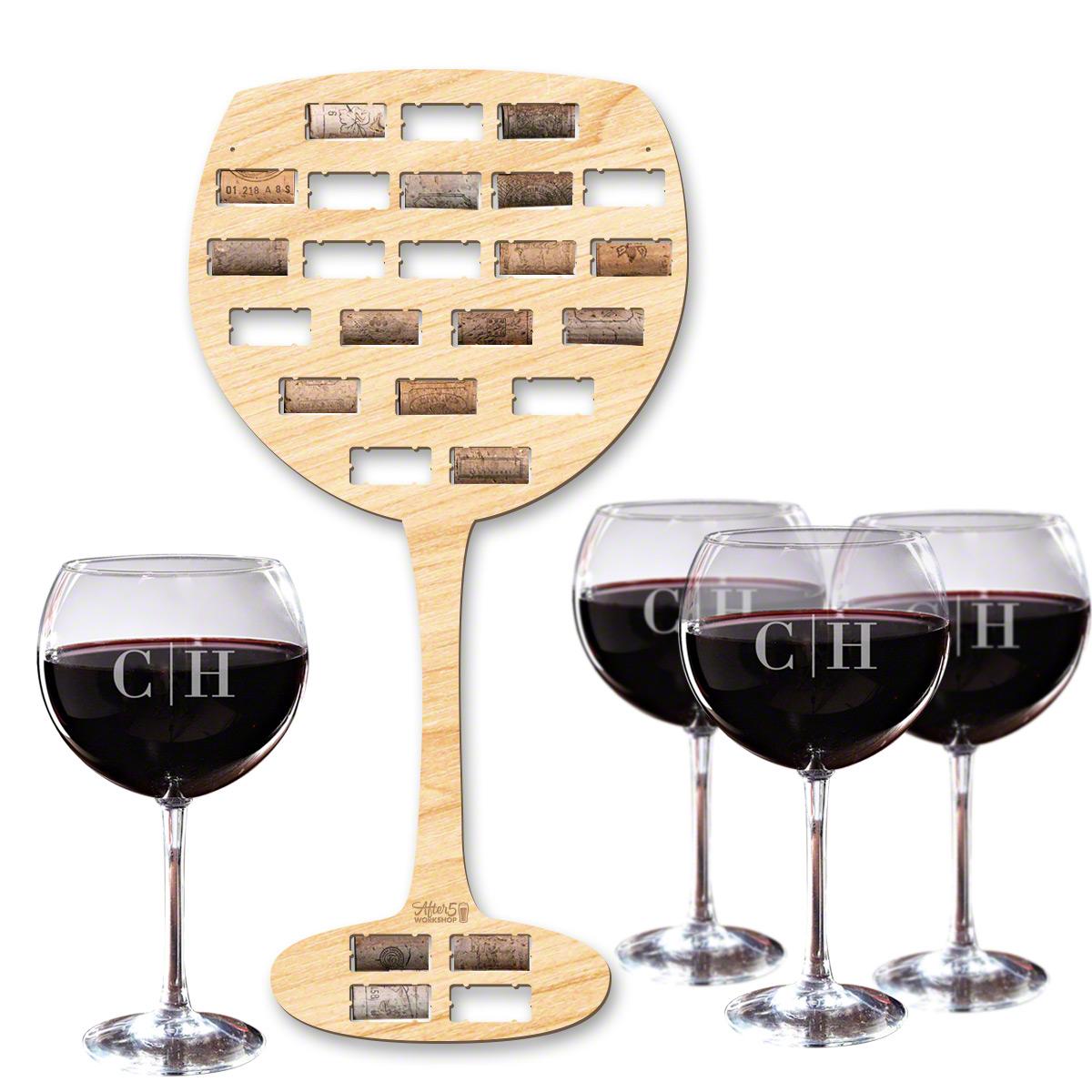Wine Glass Wine Cork Holder and Custom Wine Glasses