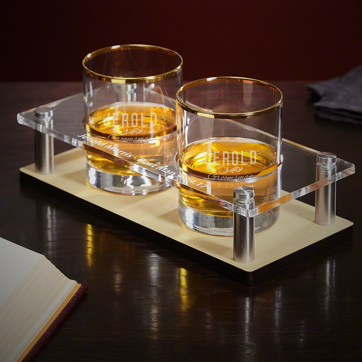 Classic Groomsman Gift Whiskey Tray with Custom Gold Rim Glasses 3 pc Set
