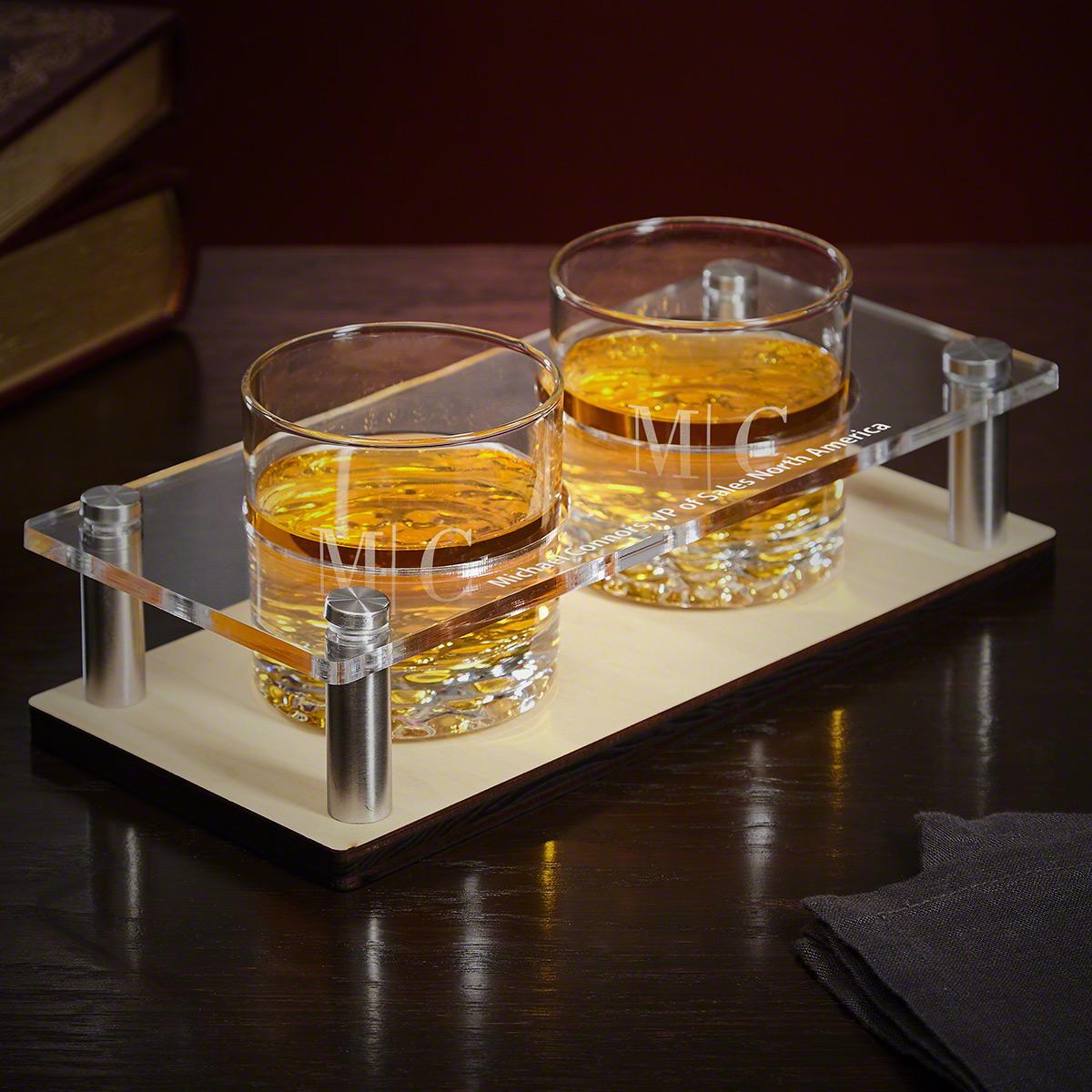 Quinton Monogram Presentation Set with Whiskey Glasses 3 pc