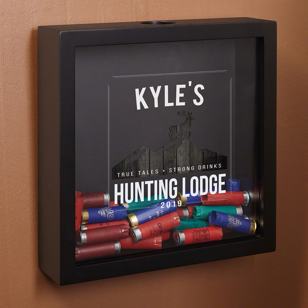 Hunting Lodge Personalized Shotgun Shell Shadow Box for Hunters
