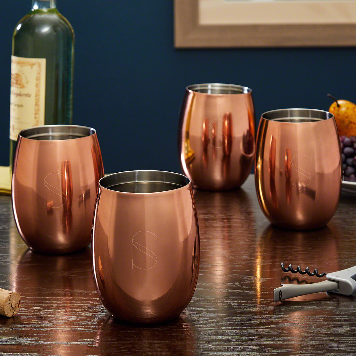 Ambrose Engraved Copper Wine Glasses Set of 4