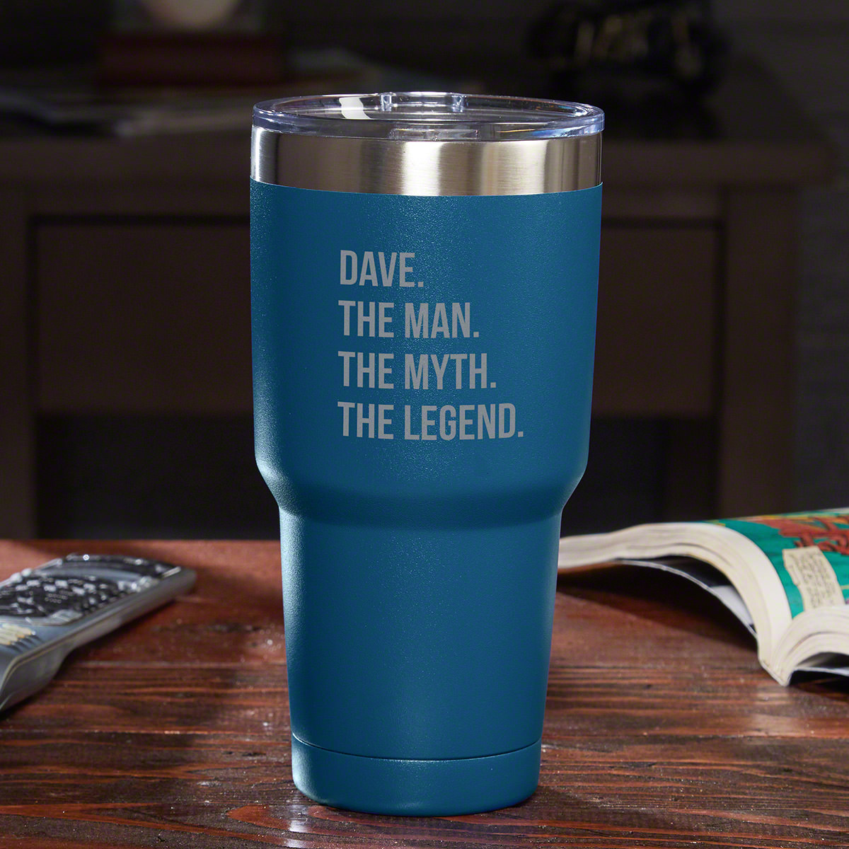 Not every man can be labeled an icon, but if you have one in your life, proclaim it loud & proud with our The Man The Myth The Legend personalized travel mug. This Yeti-style tumbler is made from robust 18/8 stainless steel. The double-wall, vacuum insul #mug