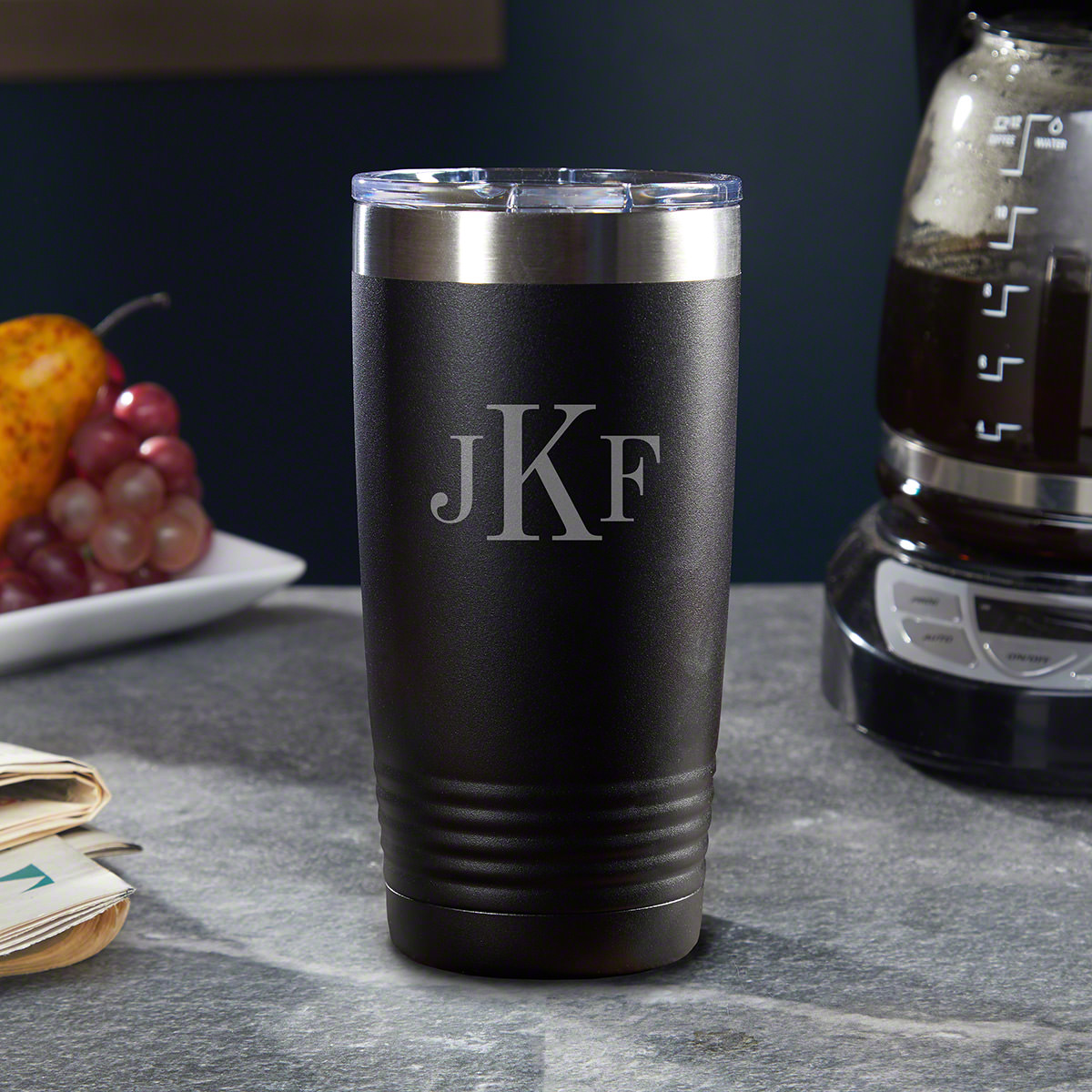 Do you drink hot or cold drinks? If the answer is both, you must check out our Classic Monogram stainless steel custom Yeti-style tumbler. Constructed from steadfast 18/8 stainless steel, these personalized travel mugs will keep your favorite beverages s #%20