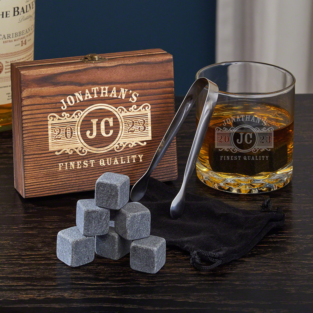 Marquee Engraved Whiskey Chilling Stones and Rocks Glass Set