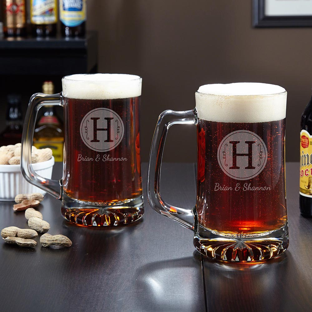 Renza Custom Beer Mugs, Set of 2