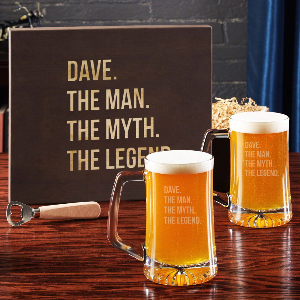 The Man The Myth The Legend Beer Glass Set with Gift Box